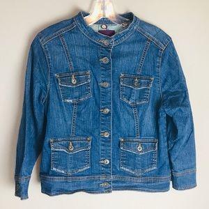 GLORIA VANDERBILT Blue Jean Jacket Petite Large